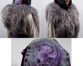 Larp large leather hood wizard warcraft cosplay costume fur armor purple dragon embroidery warlock sorcerer mystic hunter magic shaman grey