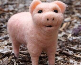 Needle Felted Miniature Pig - Needlefelted Wool Animal Soft Sculpture