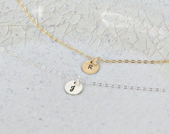 "Personalized initial necklace • Layering necklace • Sterling Silver or Gold-filled option • 3/8"" Initial necklace • Initial name necklace"