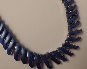 Vintage CORO Blue Necklace, Coro Blue Thermoset Necklace, Coro Blue Lucite Necklace, Coro Blue and Silver Necklace, Signed Coro Jewelry