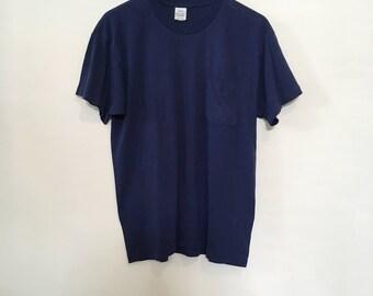 80's Navy Blue Basic Pocket Tee