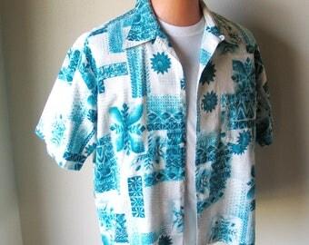 Vintage Early 1990s Teal White Aloha Print Hawaiian Tiki Shirt MCD M L