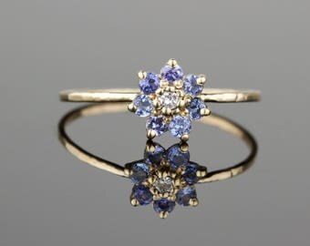 Tanzanite and Diamond Wood Anemone Flower Ring - Delicate Solid 14k Gold Stack Ring - 14k Rose or White or Yellow Gold Stacking Ring