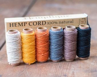 Hemp Macrame Cord, 6 Mini Spool  Box set,  Harvest Colors, Hemp Cord, Craft String
