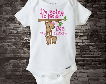 Girl's I'm Going to Be a Big Cousin of Twins Shirt or Onesie with twin babies, Personalized 01172014b1