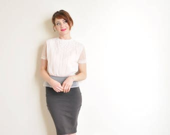 sheer pink mid century daisy blouse . blush see through pleated shirt .small.medium