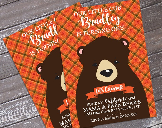 Little Cub/Little Bear Birthday Invitation, Forest Friends, Woodland-Orange | Editable Text - DIY Instant Download PDF Printable