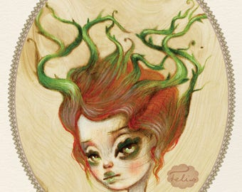 Thorn Thicket - numbered and signed 5x7 Fine Art Print giclee - Pop Surrealism Lowbrow art by KarolinFelix - open edition, unframed