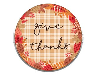 """Give Thanks sign, Thanksgiving decor, 18"""" round sign, entryway decor, front door, fall decor, autumn sign, wood door hanger, fall wreath"""