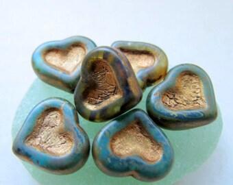 NEW BRONZED HEARTS  . Czech Metallic Heart Beads . 14 mm (4 beads)