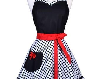 Sweetheart 50s Womens Apron / Black Polka Dots with Red Trim Retro Vintage Style Pin Up Full Flirty Kitchen Apron with Fitted Bodice (FM)