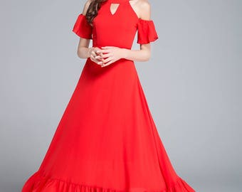 red chiffon dress, maxi dress, summer dress, halter dress, off shoulder dress, wedding dress, prom dress, romantic dress, ladies dress 1759