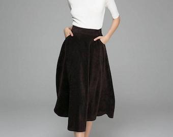 brown skirt, A line skirt, ladies skirts,Circle skirt, unique skirt, maxi skirt, high waisted skirt, custom made, gift for her (1378)