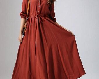 Rust red dress, linen dress, Casual dress,maxi dress, shirt dress, long dress,V neck dress, long sleeve dress, Custom made dress, gift 804