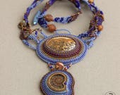 Bead Embroidered Freeform Necklace with Jasper and Amonite Fossil