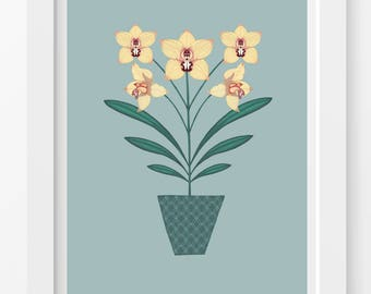 Orchid Flower Print / Yellow Orchid Print / Orchid Illustration / Flower Print