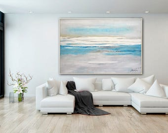 Original Large Abstract Painting 40 x 60 Modern Art Blue Gray Ocean Wall Art Painting Contemporary Landscape Oil Painting by Sky Whitman
