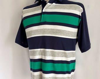 Vintage Men's 80's Striped, Polo Shirt, Short Sleeve (L)
