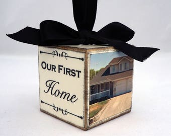 Our First Home Photo Block Ornament, Housewarming Christmas Ornament, New Home Christmas Ornament