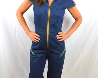 AMAZING Vintage 1970s 70s Denim Jumpsuit