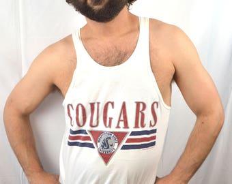 Vintage 1980s Washington State University Cougars Tank Top Shirt