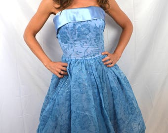 Vintage 1950's Bombshell Blue Sparkle Formal Party Dress