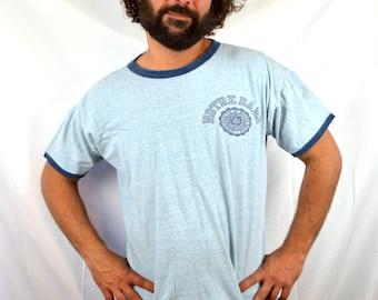 Vintage 1970s 70s Notre Dame Champion Blue Ringer Tee Shirt Tshirt -