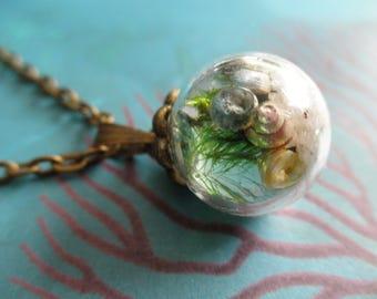 Ocean Reliquary Terrarium Round Glass Pendant-Sand,Pearl,Sea Shells,Moss,Soft Blue Water-Symbolizes Compassion,Harmony,Balance,Hope