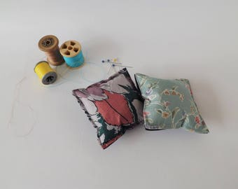 Recycled Fabric Swatch, Scrap and Offcut Pin Cushion with Eco Friendly Wadding, Floral Prints