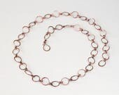 Large Hammered Copper Links Chain Necklace,  wire wrapped circle links oxidized solid pure copper chain, artisan handmade