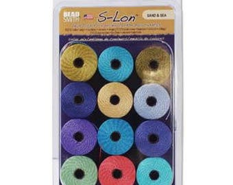 Sand & Sea  Collection Of Tex 210 S-Lon Beading Cord, 12 Spools of Tex 210 Beading Cord