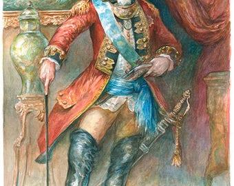The Baron - extraordinary adventures of Baron Munchausen watercolor illustration
