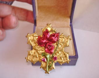 Red  Flower Filigree Brooch Gold Tone