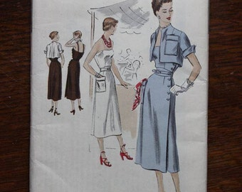 Vogue Sewing Pattern S-4056 Special Design One Piece Summer Sun Dress Bolero Jacket 1950 VINTAGE by Plantdreaming