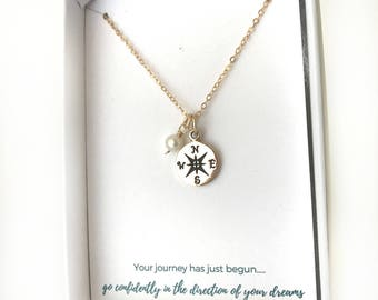 Moving Gift - Gold Compass - Gift for Traveler - Gold Friendship Necklace - Wanderlust Jewelry - Custom Best Friend Necklace