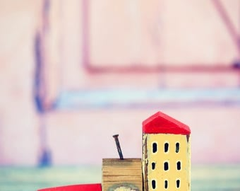 A set of 3 wooden miniature houses. Wooden miniature houses. Little wooden houses. Doll house miniatures. Rustic wooden houses.