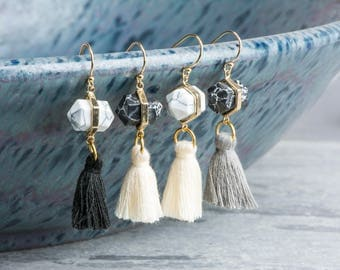 Black Stone and White Stone Tassel Earrings with Pointed Marble, Choice of Gray Tassel, Cream Tassel, Black Tassel, Perfect Wedding Earrings