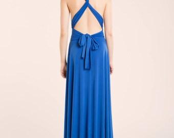 SALE Wedding guest dress, long blue dress, blue infinity dress, blue evening dress. blue long dress, convertible dress, seconds clearence