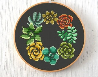 PDF Pattern - Succulent Wreath Cross Stitch Pattern, Succulents Cross Stitch Pattern, Wreath Cross Stitch Pattern, Modern Cross Stitch