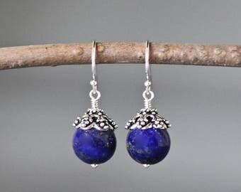 Blue Lapis Earrings - Bali Silver Earrings - Lapis Lazuli Earrings - Lapis Jewelry - Blue Gemstones - Wire Wrap Earrings Silver - Gift