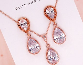 Bridal Rose Gold Earrings, Bridesmaid Teardrop Earrings, Cubic Zirconia, Bridesmaid jewelry gifts necklace, gifts for her, wedding, Darcy