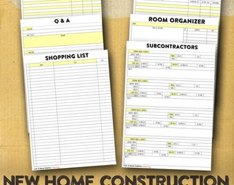 Graphic design and marketing materials and by for New home construction organizer