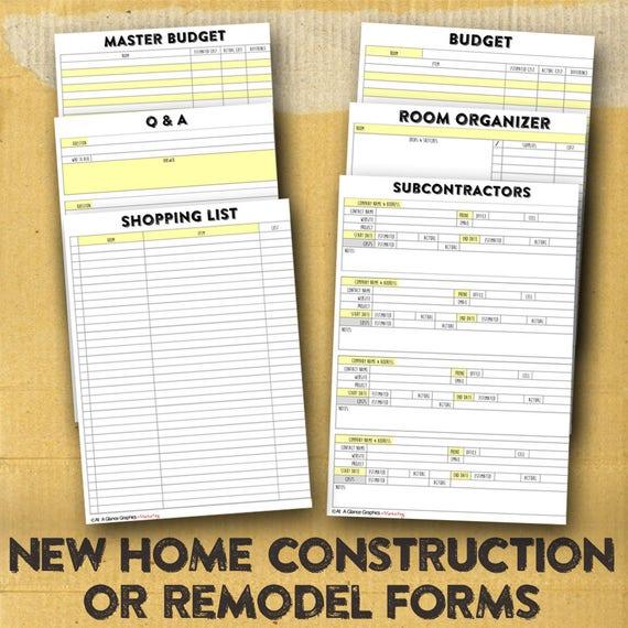 New home building organizer new home construction forms for Home construction organizer