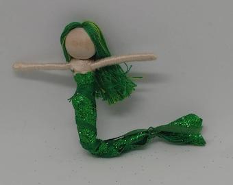 New!  Mermaid Bendy Doll by Tracys Garden Fairies - Green Twist