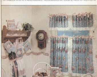 Curtains & Appliqué Kitchen Accessories Sewing Pattern Simplicity 8995 UNCUT Pig Cow Duck, Apron, Napkin Holder, Basket, Oven Mitt Placemats