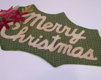 Christmas Penny Rug Candle and Table Mat by Happy Valley Primitives
