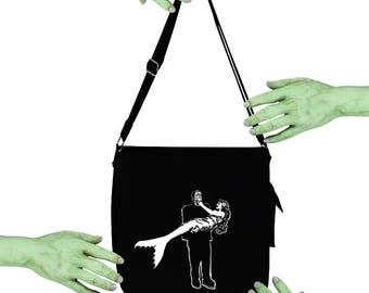 VoodooSugar Frankenstein Monster Carrying Mermaid Black Messenger Bag Voodoo Sugar