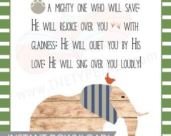 Scripture Animal Printable for Boy Nursery or Toddler Room