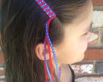 Royal Blue & Red Dots Retro Streamer Barrettes