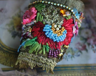 Brocart cuff, ornate cuff with antique laces, bohemian wrist wrap,beading and crystals